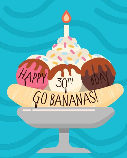 happy birthday card banana split 30