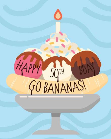 happy birthday card banana split 50