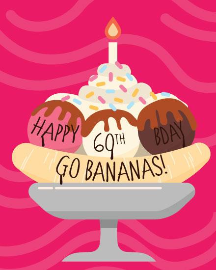 happy birthday card banana split 60