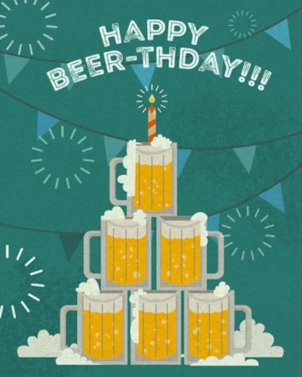 happy birthday card beerthday beers
