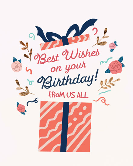 birthday card best wishes on your birthday open present