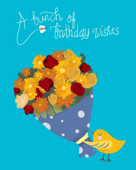happy birthday card bird holding bouquet