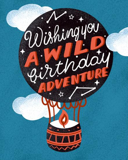 happy birthday card wishing you a wild birthday hot air balloon