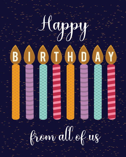 happy birthday card candles