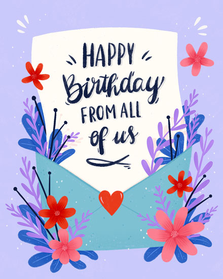 birthday card envelope with florals