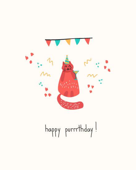 birthday card happy purrthday cat