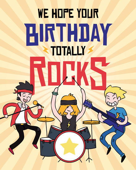 happy birthday card rock band
