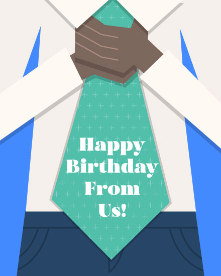 birthday card happy birthday from us man with necktie