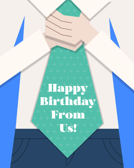 happy birthday card tie for him