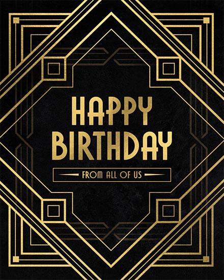 birthday card happy birthday black and gold