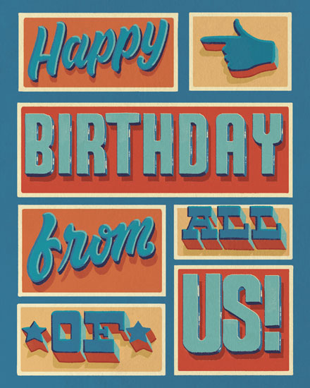 happy birthday card blue orange rustic