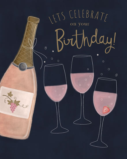 happy birthday card lets celebrate on your birthday champagne bottle