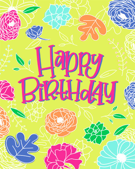 happy birthday card bright floral