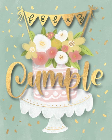 birthday card feliz cumple cake and banner