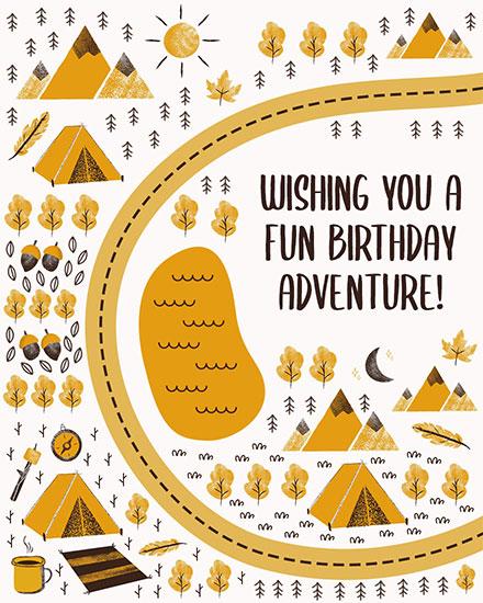 birthday card camping adventure