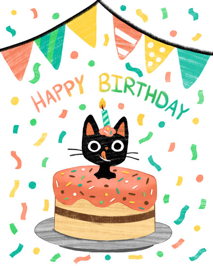 happy birthday card cat cake