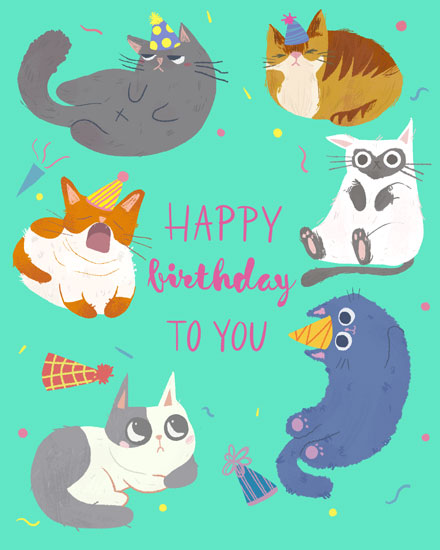 happy birthday card cats