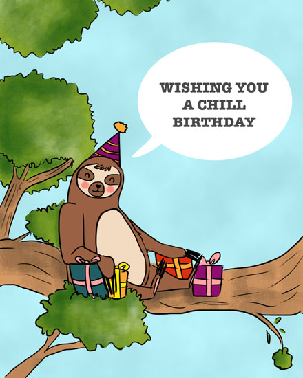 happy birthday card chill sloth in tree