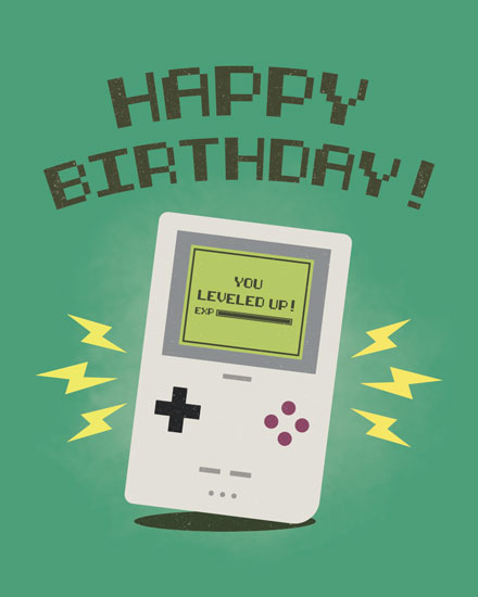 birthday card classic gameboy