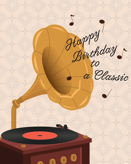 happy birthday card happy birthday to a classic record player