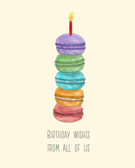 happy birthday card colorful macarons stack