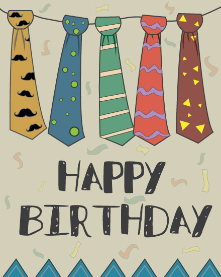 happy birthday card colorful neckties