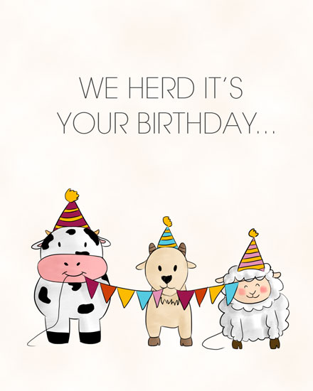 happy birthday card cow goat sheep herd its your bday