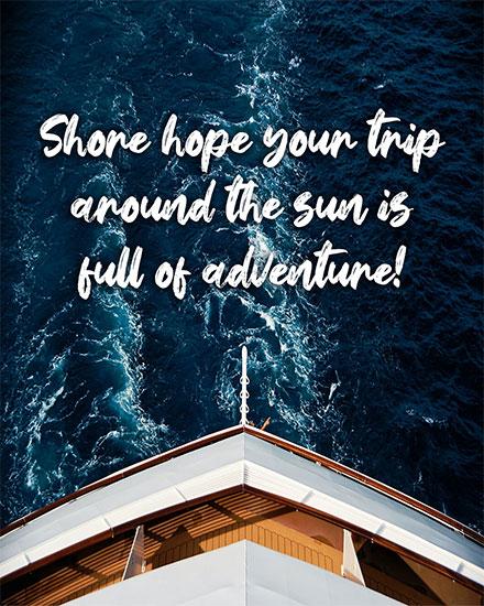 birthday card cruise travel theme