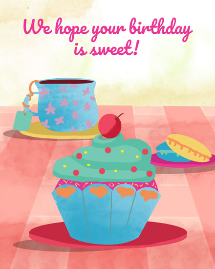 happy birthday card cupcake and macaroons picnic