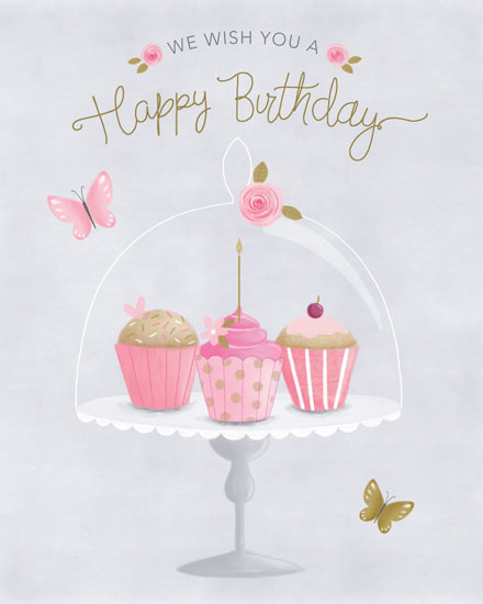 birthday card cupcake glass platter
