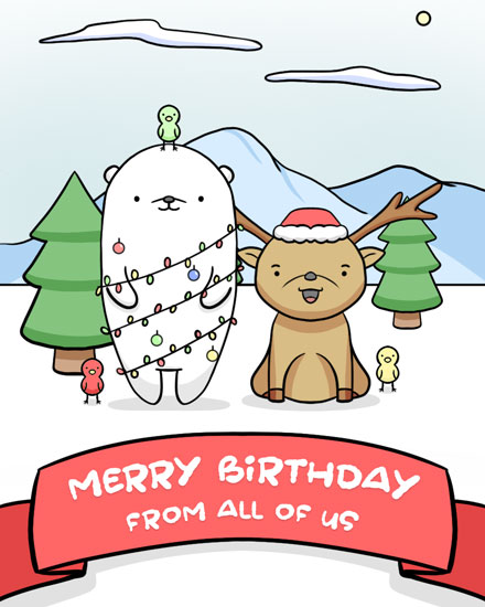 happy birthday card deer bear bird