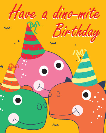 happy birthday card dino mite dinosaurs