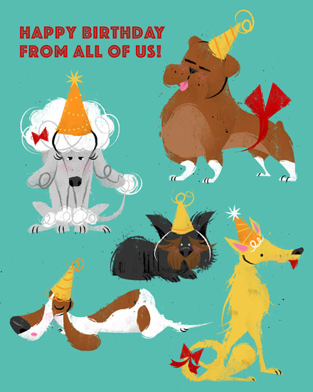 happy birthday card dogs