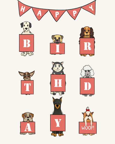 happy birthday card dogs with boards