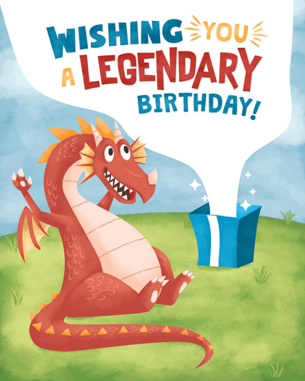 birthday card dragon legendary birthday