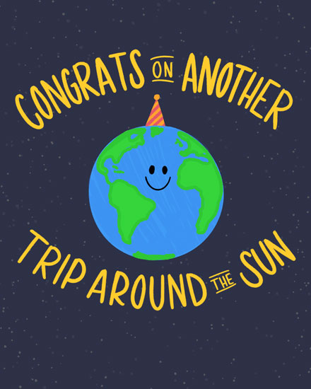 birthday card congrats on another trip around the sun