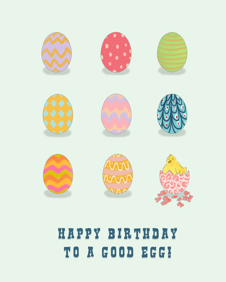 happy birthday card easter eggs good egg chick
