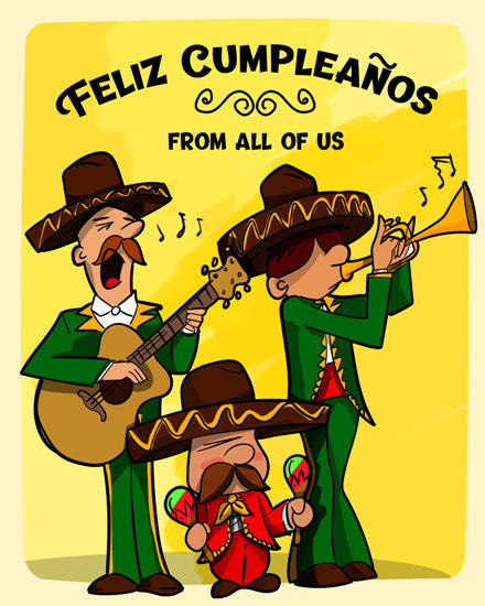 happy birthday card feliz cumpleanos mariachi band