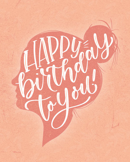 happy birthday card female silhouette