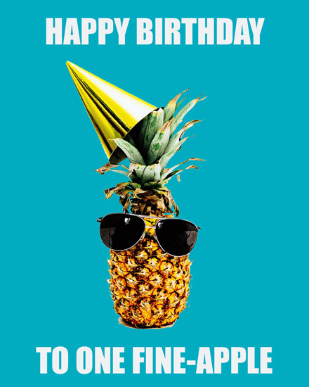 happy birthday card  fine apple pineapple