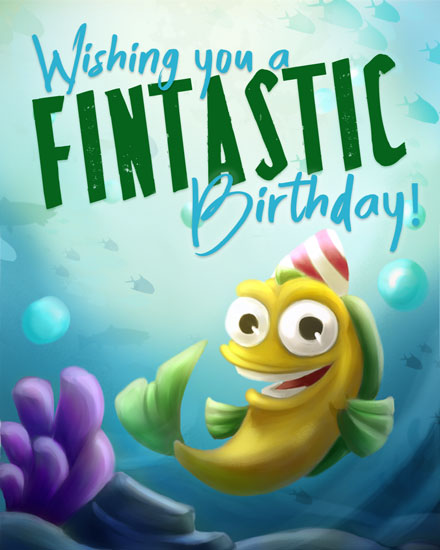 happy birthday card fintastic fishes pun