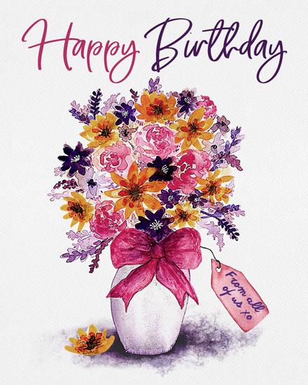 birthday card happy birthday floral bouquet