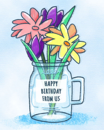 happy birthday card flowers in jar