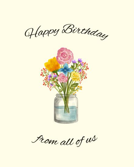 happy birthday card flowers in vase