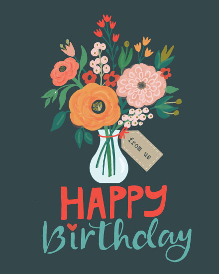 birthday card happy birthday flowers in vase