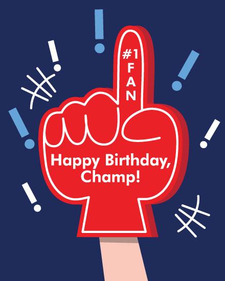 happy birthday card foam finger champ