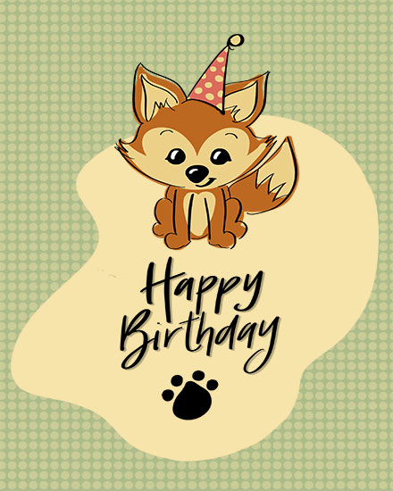 happy birthday card fox