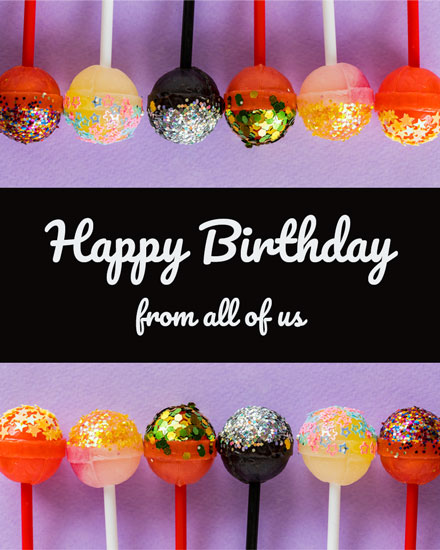 happy birthday card glitter candy pops