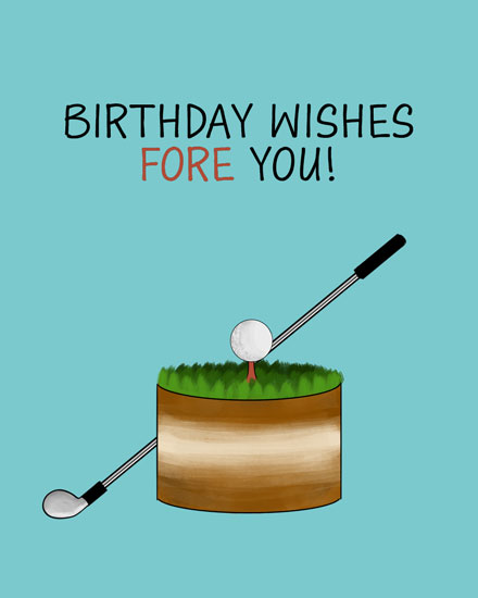 happy birthday card birthday wishes fore you golf