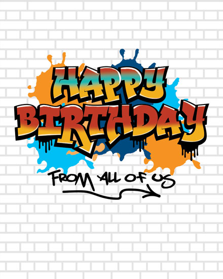 happy birthday card graffiti tag brick wall